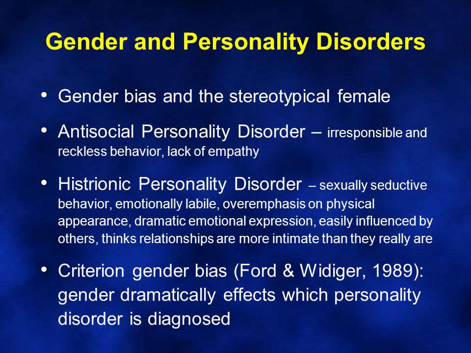 Gender and Personality Disorders