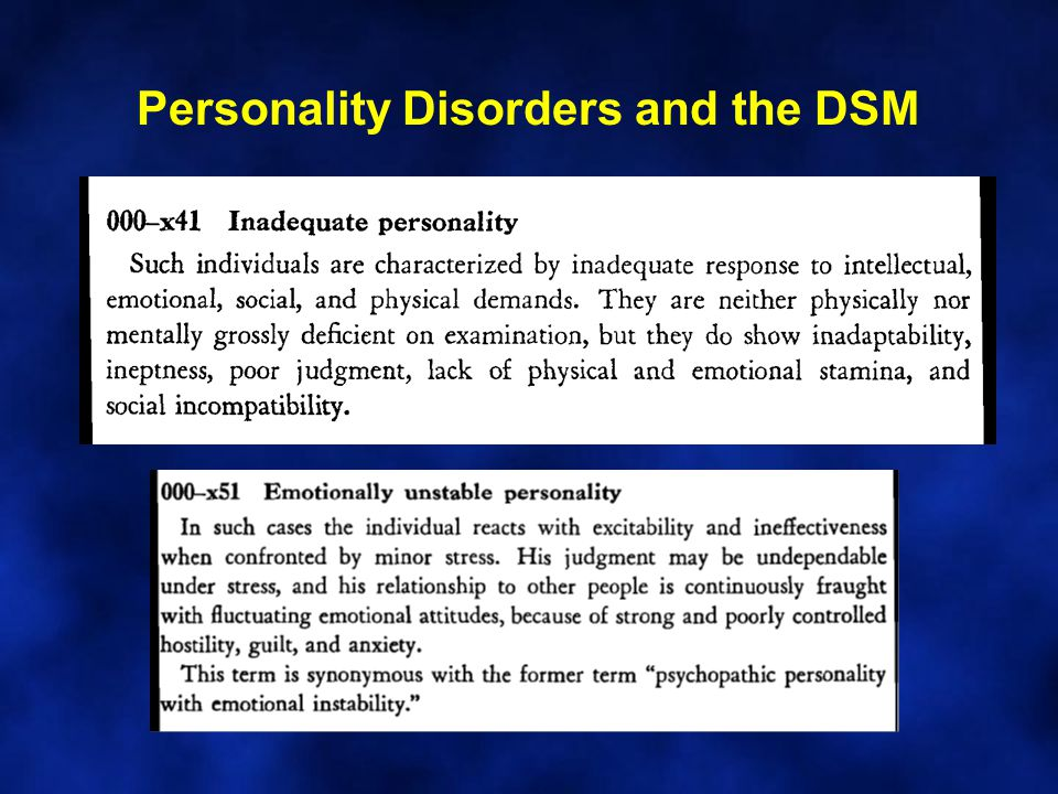 Personality Disorders and the DSM