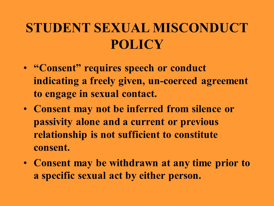 STUDENT SEXUAL MISCONDUCT POLICY