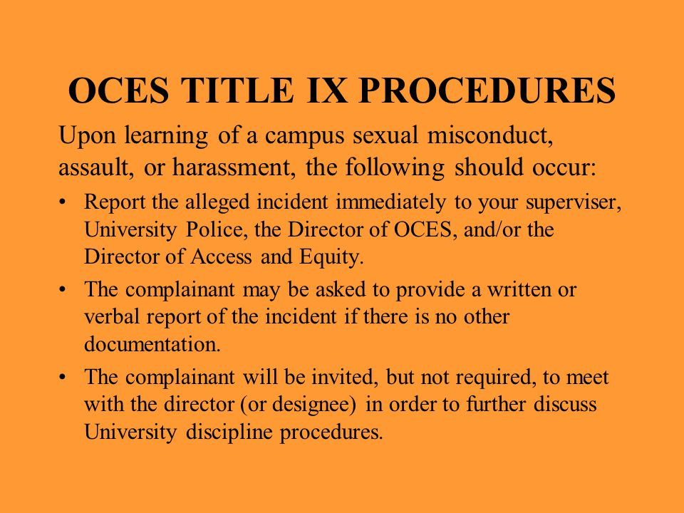 OCES TITLE IX PROCEDURES