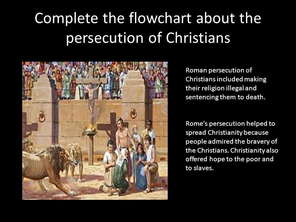 Complete the flowchart about the persecution of Christians