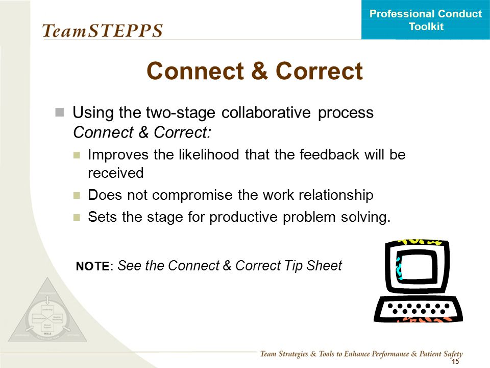 Connect & Correct Using the two-stage collaborative process Connect & Correct: Improves the likelihood that the feedback will be received.