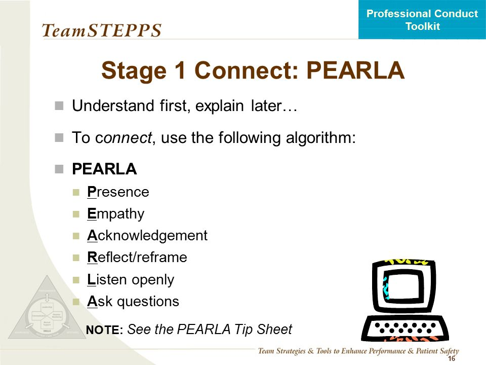 Stage 1 Connect: PEARLA Understand first, explain later…