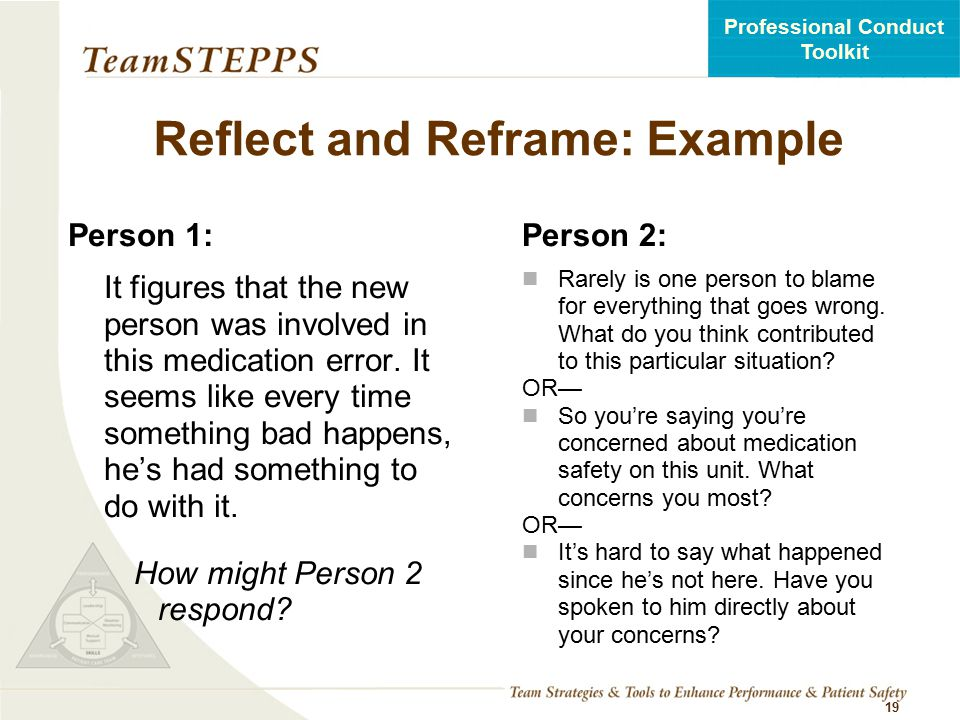 Reflect and Reframe: Example