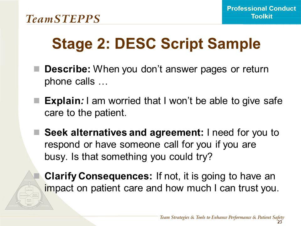 Stage 2: DESC Script Sample