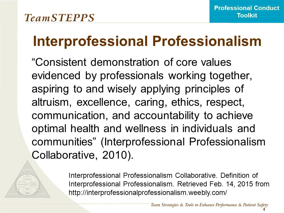 Interprofessional Professionalism