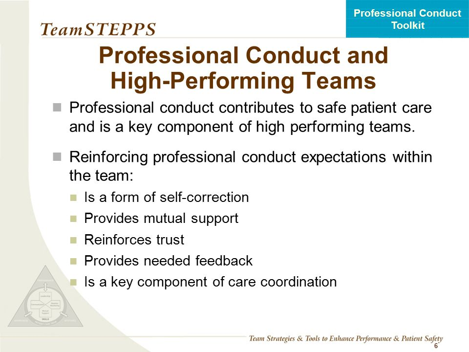 Professional Conduct and High-Performing Teams