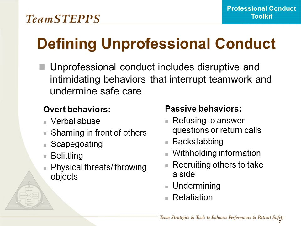Defining Unprofessional Conduct
