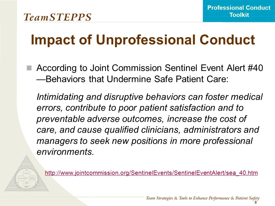 Impact of Unprofessional Conduct