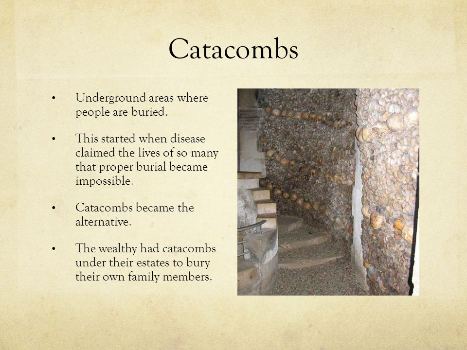 Catacombs Underground areas where people are buried.