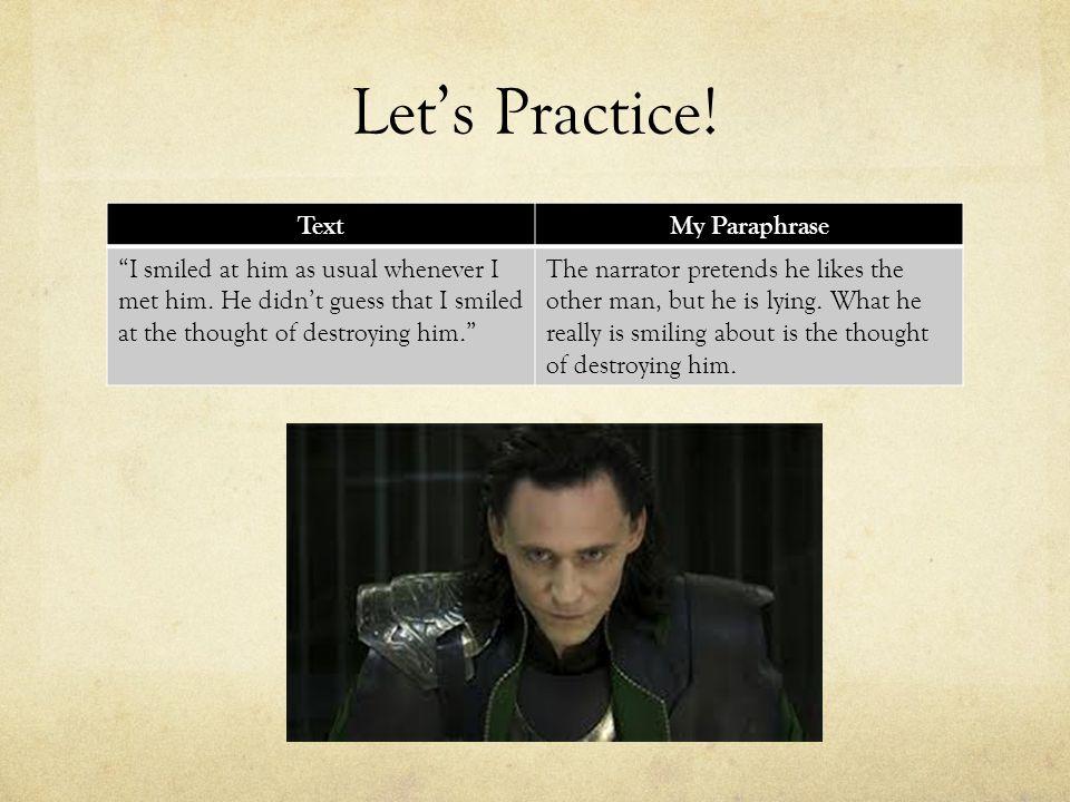 Let's Practice! Text My Paraphrase