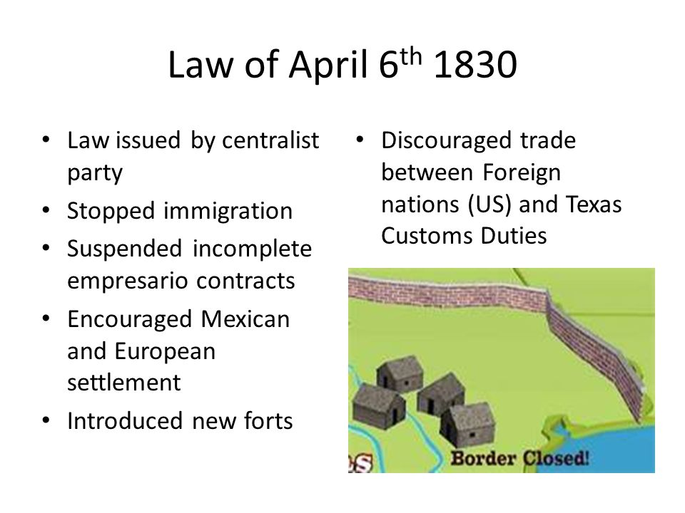 Law of April 6th 1830 Law issued by centralist party