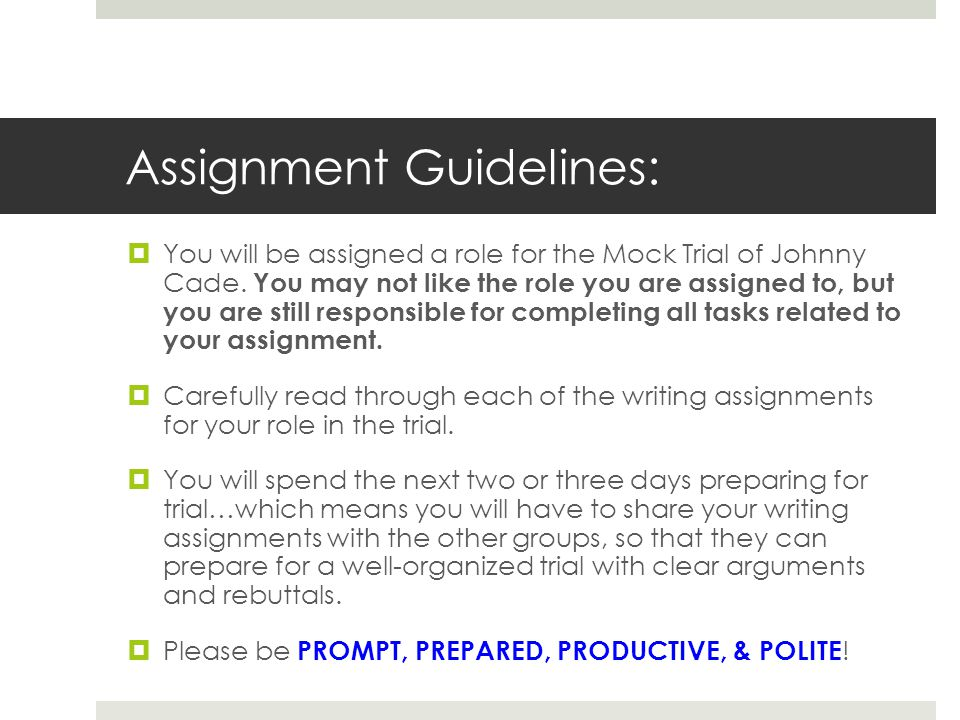 Assignment Guidelines: