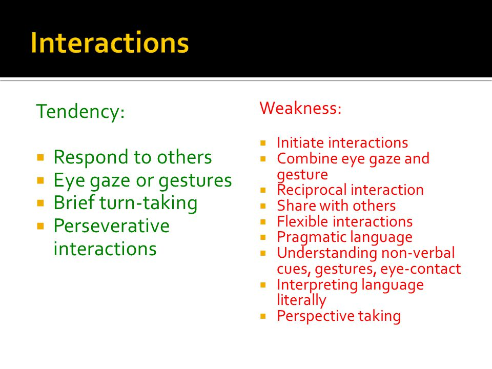 Interactions Tendency: Respond to others Eye gaze or gestures