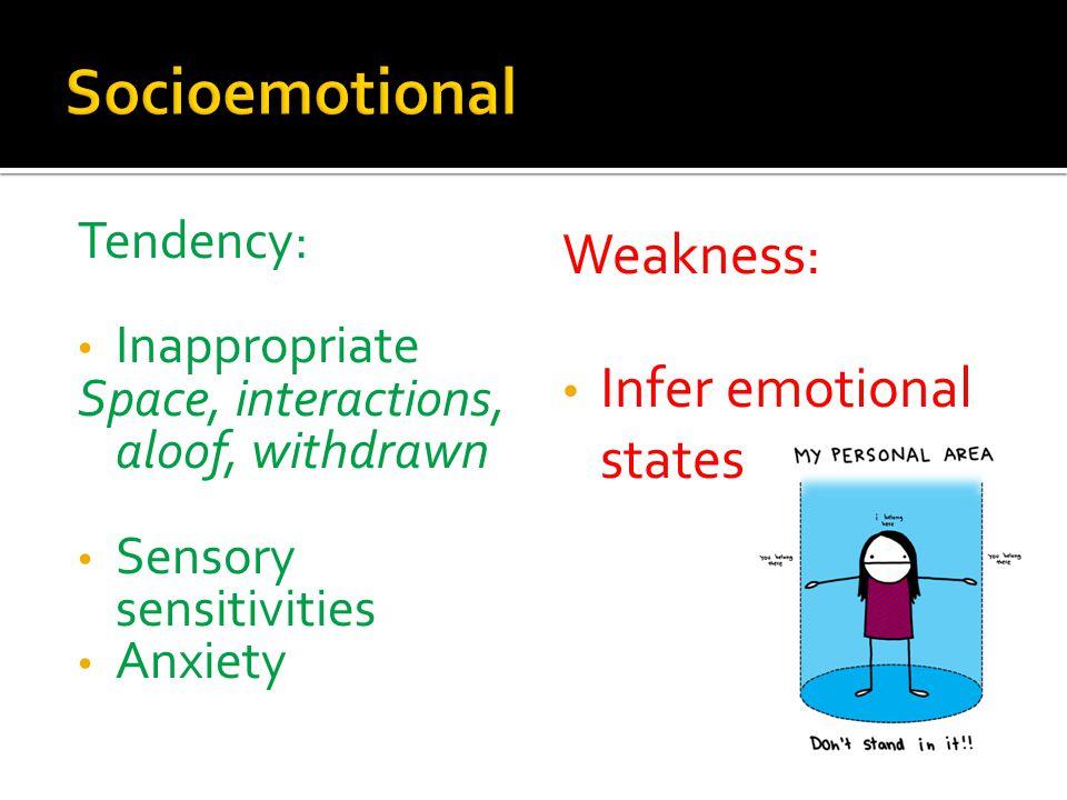 Socioemotional Weakness: Infer emotional states Tendency:
