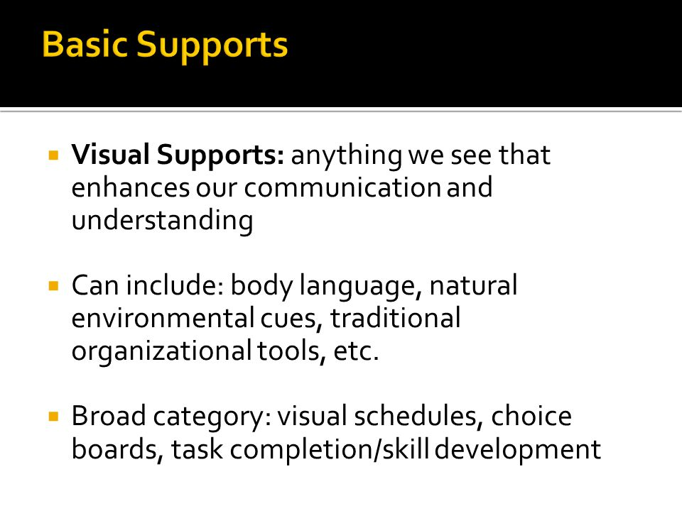 Basic Supports Visual Supports: anything we see that enhances our communication and understanding.