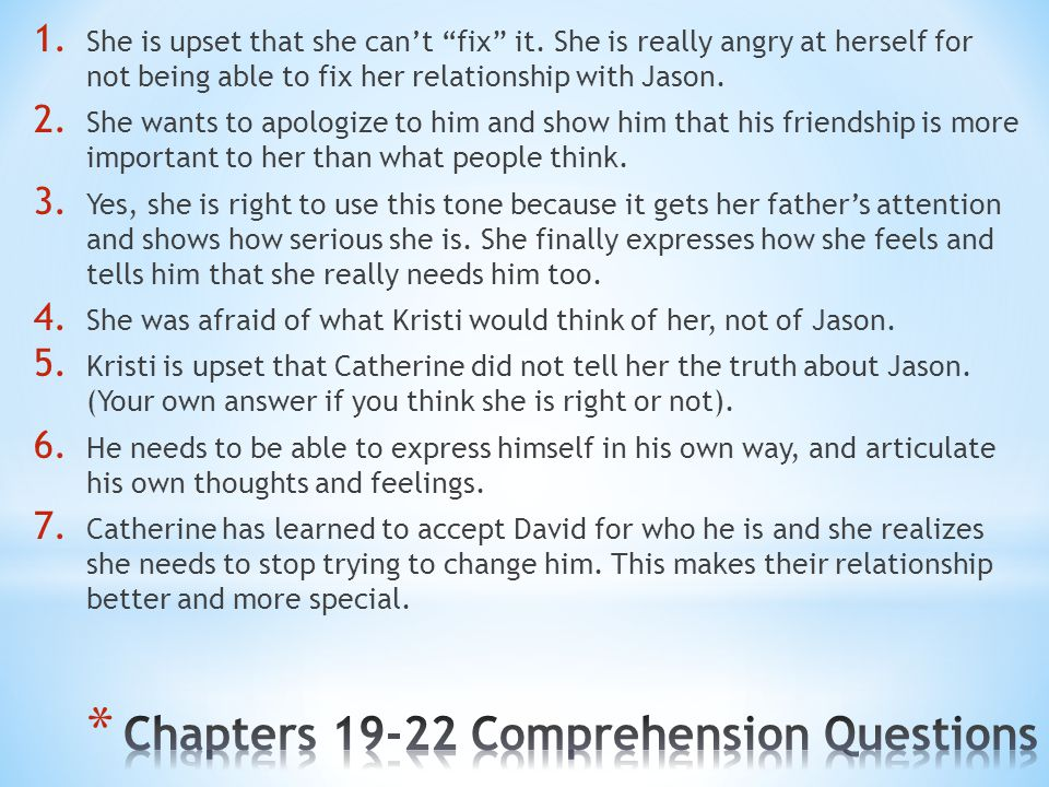 Chapters 19-22 Comprehension Questions
