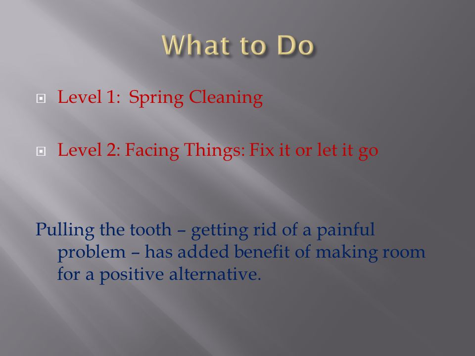 What to Do Level 1: Spring Cleaning