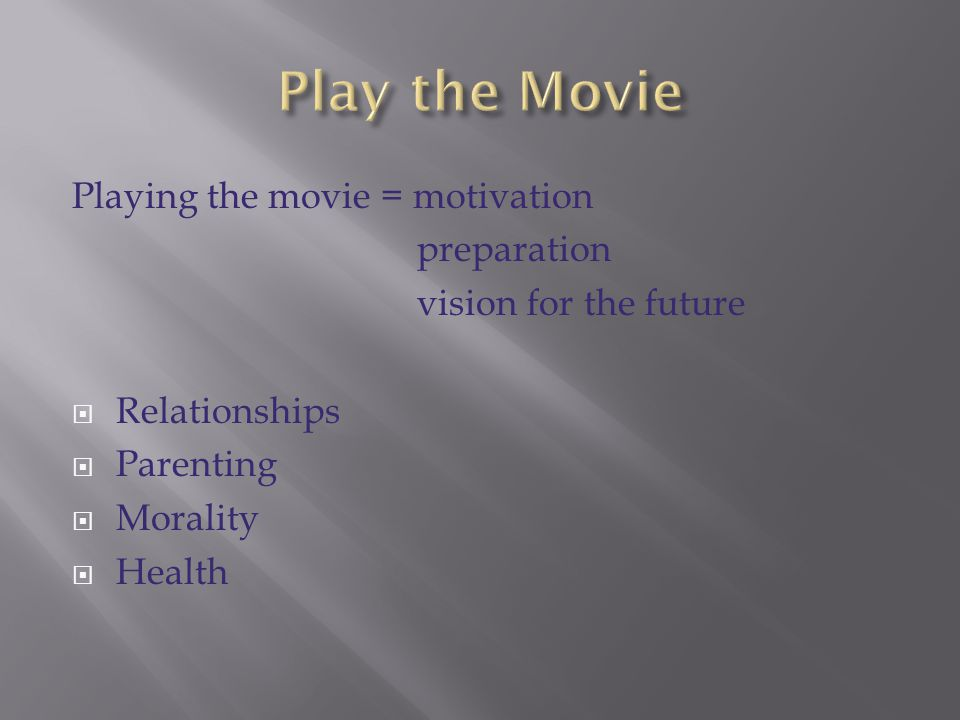 Play the Movie Playing the movie = motivation preparation