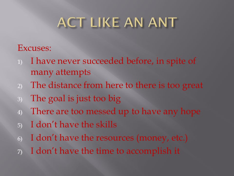 ACT LIKE AN ANT Excuses:
