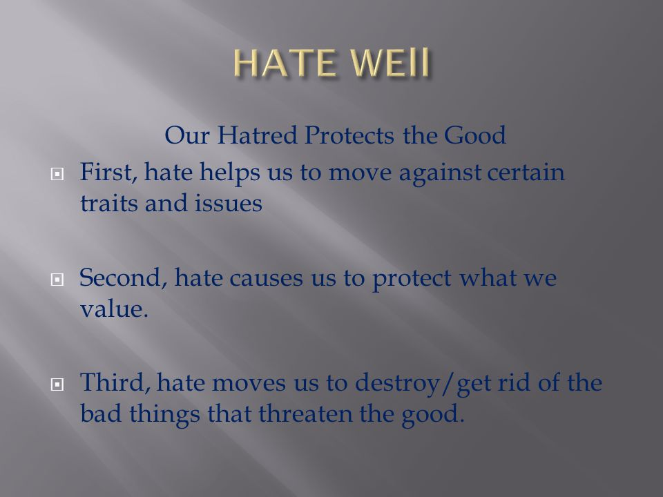 Our Hatred Protects the Good