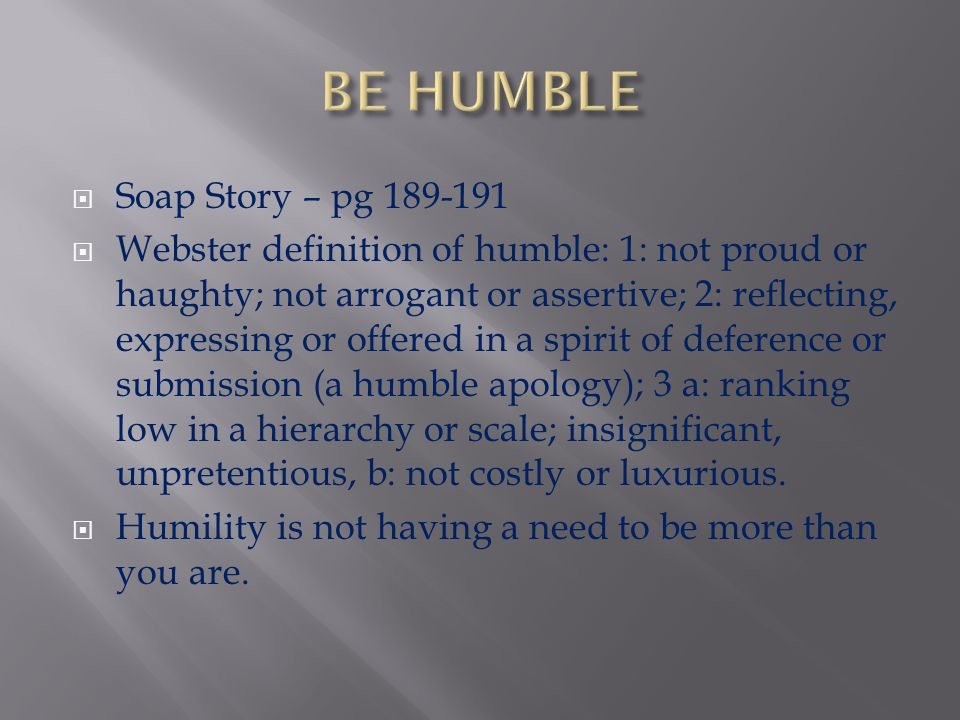 BE HUMBLE Soap Story – pg 189-191