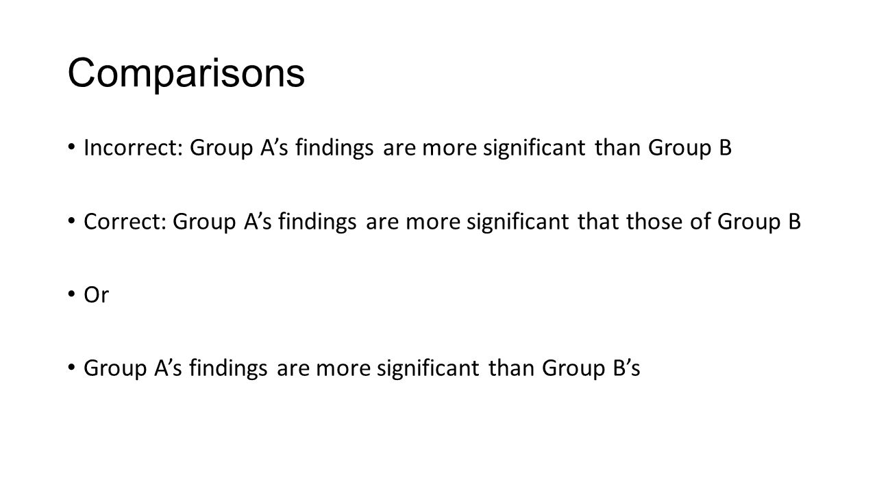 Comparisons Incorrect: Group A's findings are more significant than Group B. Correct: Group A's findings are more significant that those of Group B.
