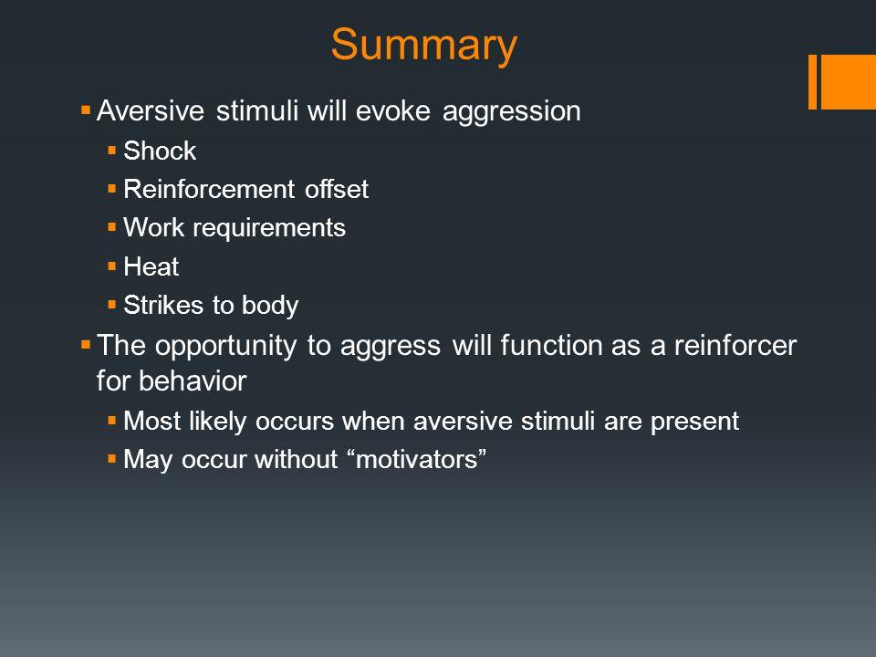 Summary Aversive stimuli will evoke aggression
