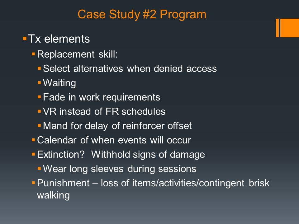 Case Study #2 Program Tx elements Replacement skill: