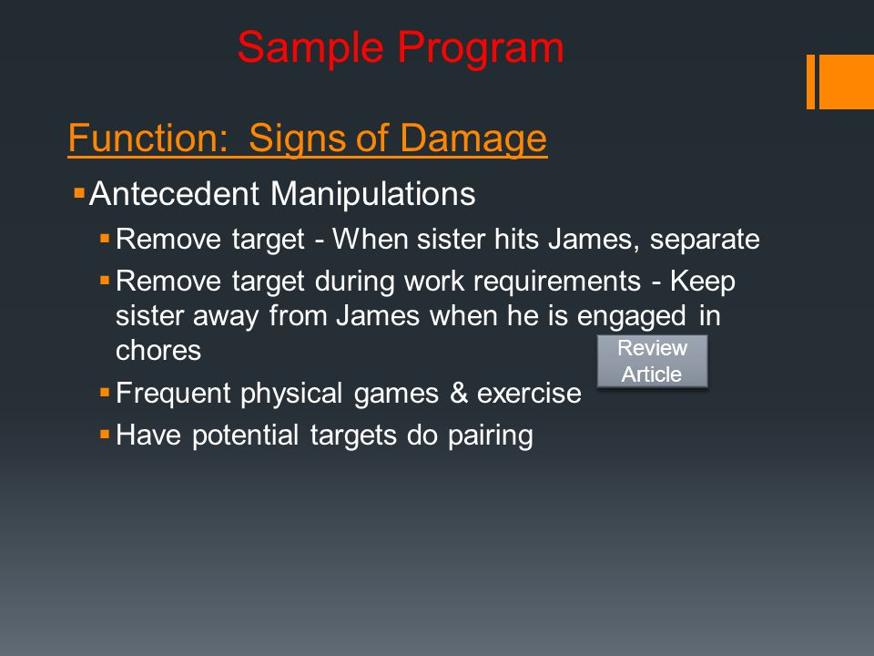 Sample Program Function: Signs of Damage Antecedent Manipulations