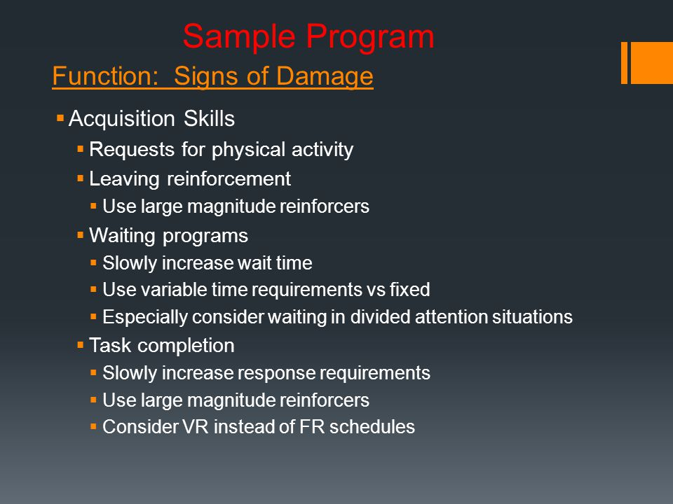 Sample Program Function: Signs of Damage Acquisition Skills