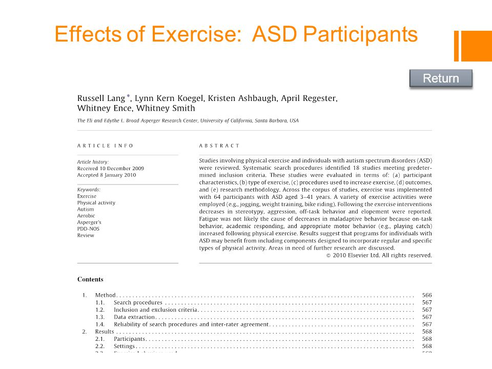 Effects of Exercise: ASD Participants