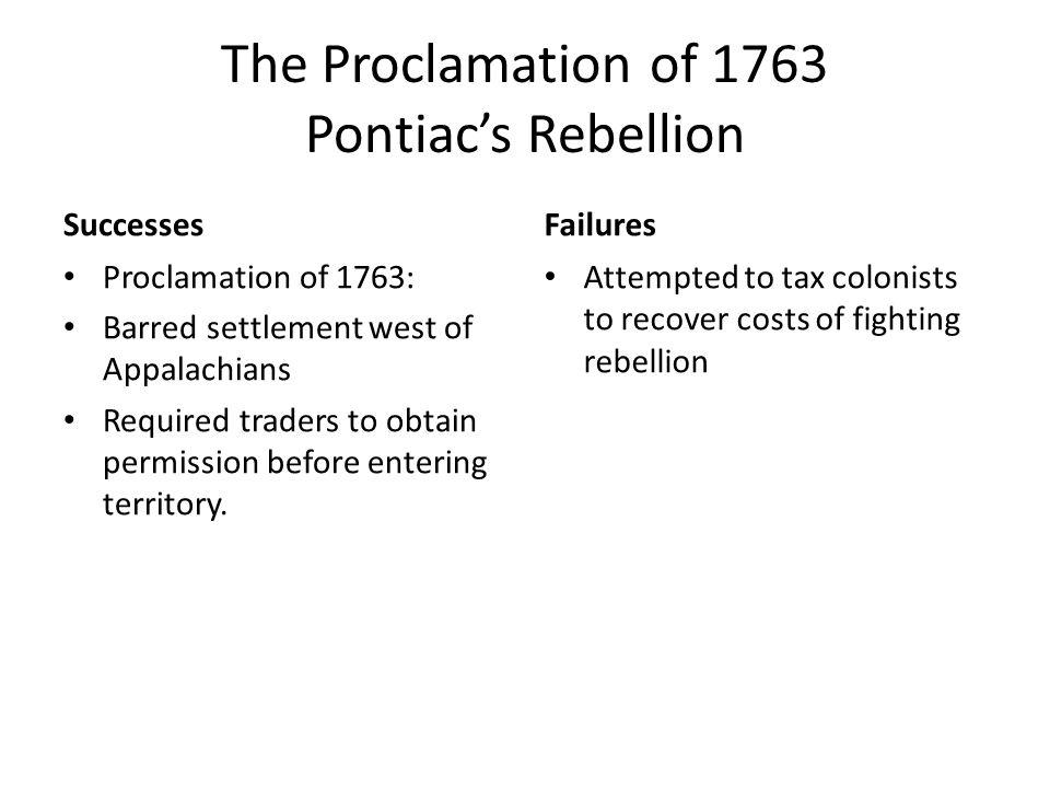 The Proclamation of 1763 Pontiac's Rebellion