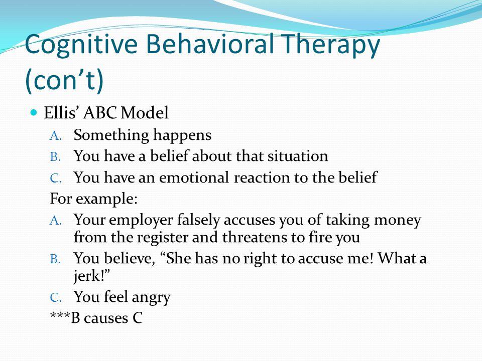 Cognitive Behavioral Therapy (con't)