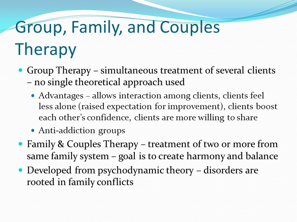 Group, Family, and Couples Therapy