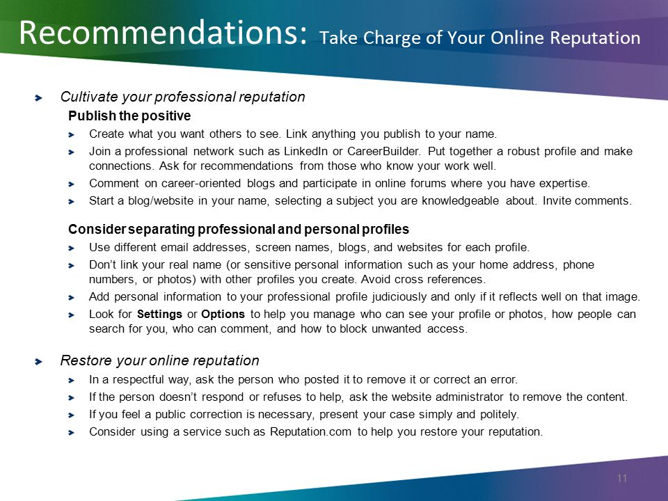 Recommendations: Take Charge of Your Online Reputation