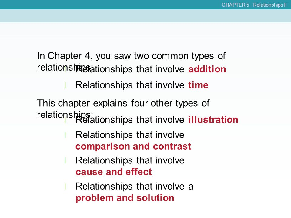 In Chapter 4, you saw two common types of relationships: