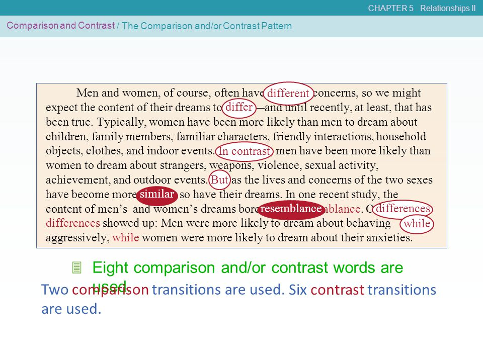 Eight comparison and/or contrast words are used. 3