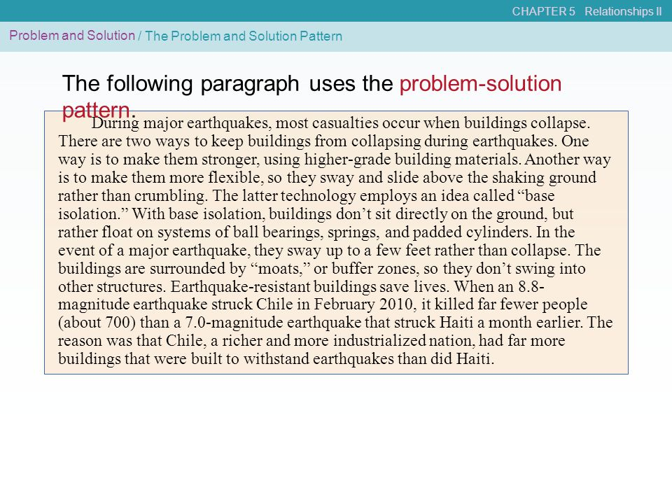 The following paragraph uses the problem-solution pattern.