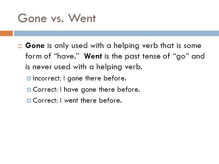 Gone vs. Went