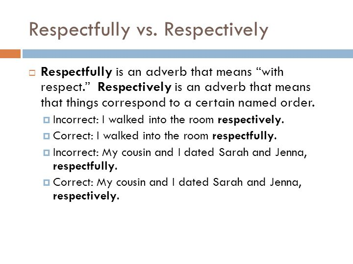 Respectfully vs. Respectively