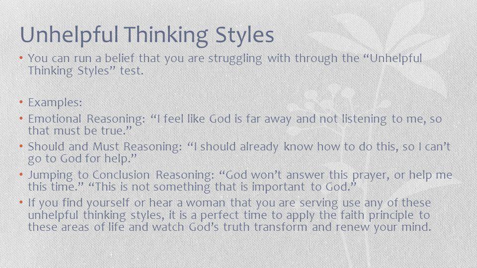 Unhelpful Thinking Styles