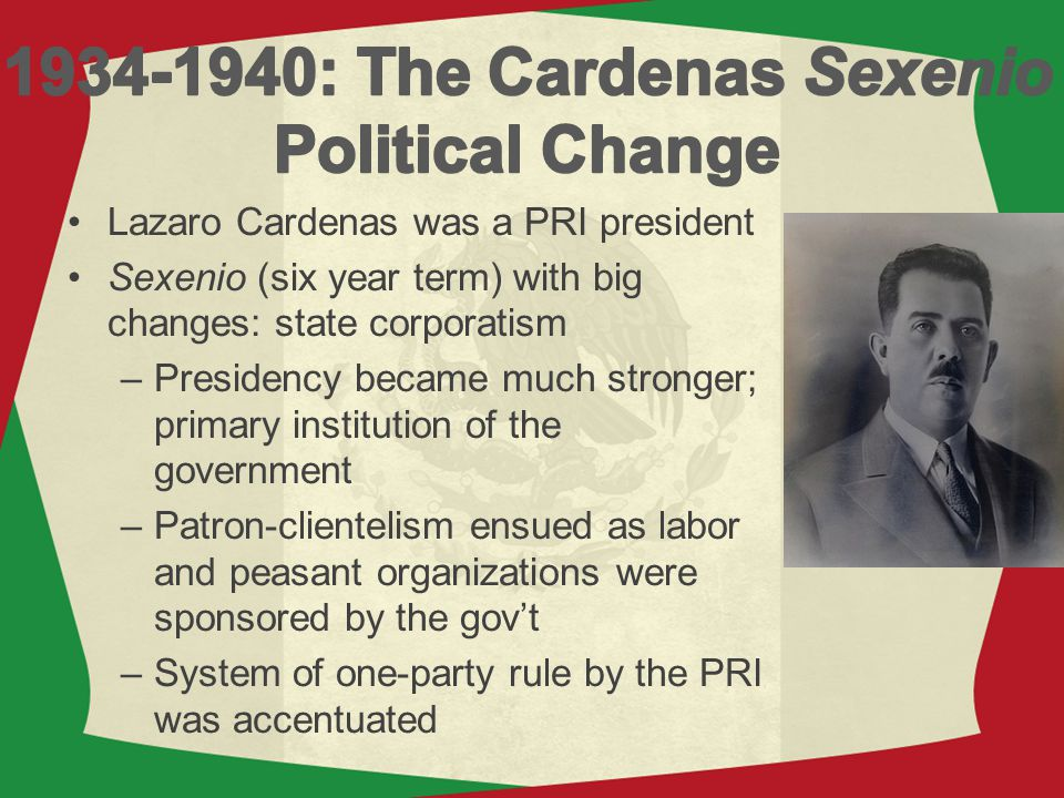 1934-1940: The Cardenas Sexenio Political Change
