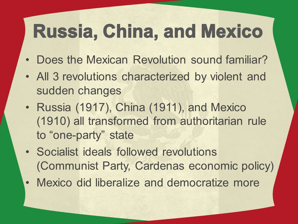 Russia, China, and Mexico