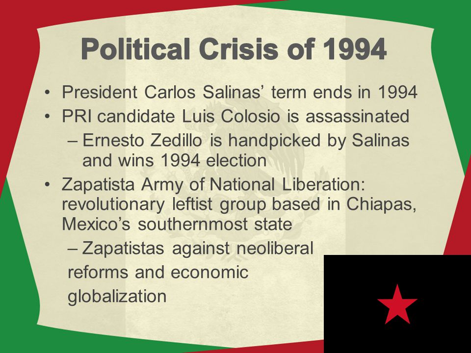 Political Crisis of 1994 President Carlos Salinas' term ends in 1994