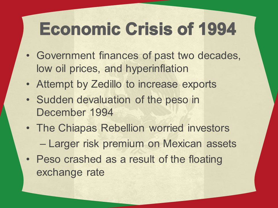 Economic Crisis of 1994 Government finances of past two decades, low oil prices, and hyperinflation.