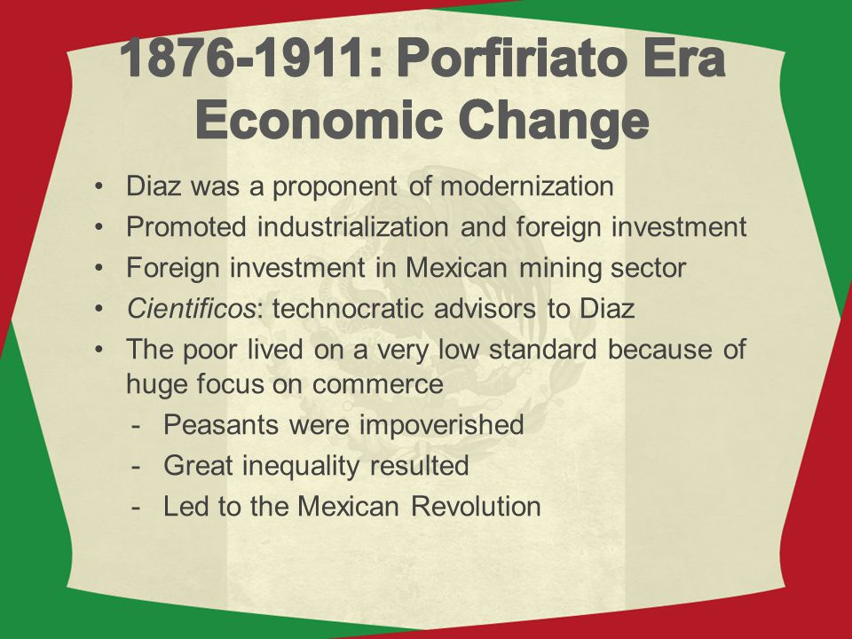 1876-1911: Porfiriato Era Economic Change