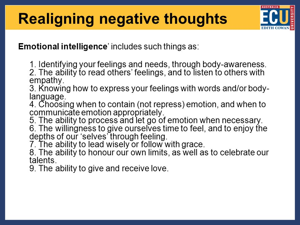 Realigning negative thoughts
