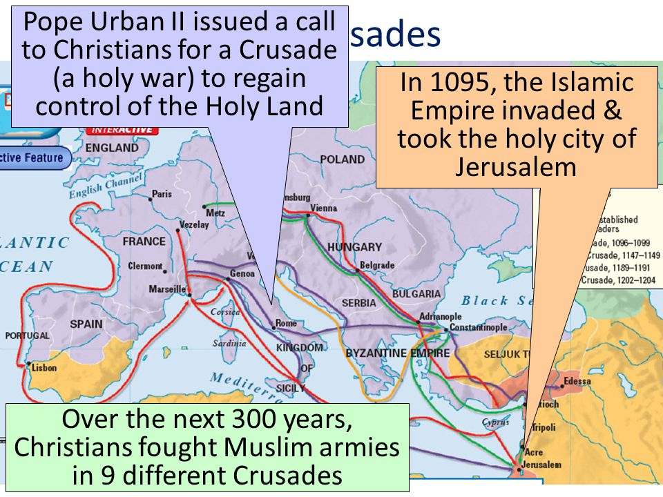 In 1095, the Islamic Empire invaded & took the holy city of Jerusalem