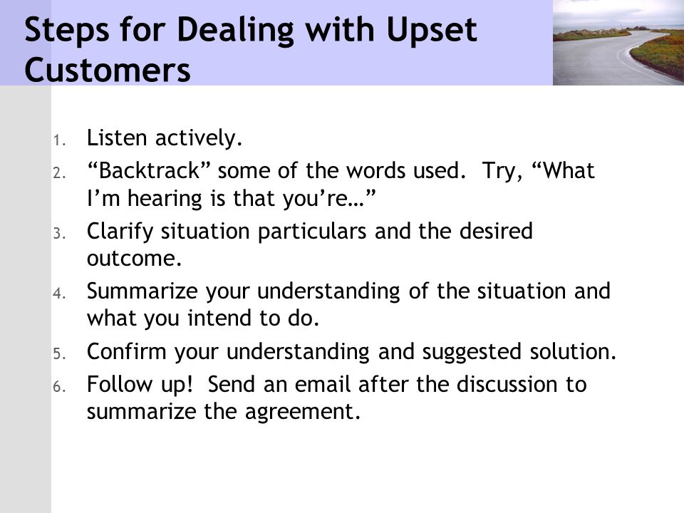 Steps for Dealing with Upset Customers